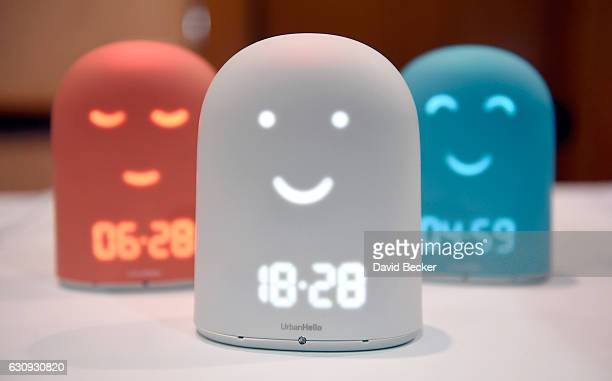 Remi a smart alarm clock is displayed at the Urban Hello booth during a press event for CES 2017 at the Mandalay Bay Convention Center on January 3...