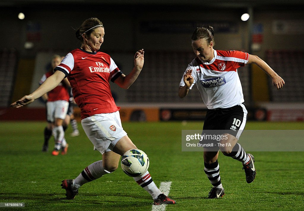 Remi Allen (R) of Lincoln Ladies in action with Ciara Grant of Arsenal Ladies during the The FA WSL Continental Cup match between Lincoln Ladies and Arsenal Ladies at Sincil Bank Stadium on May 2, 2013 in Lincoln, England.