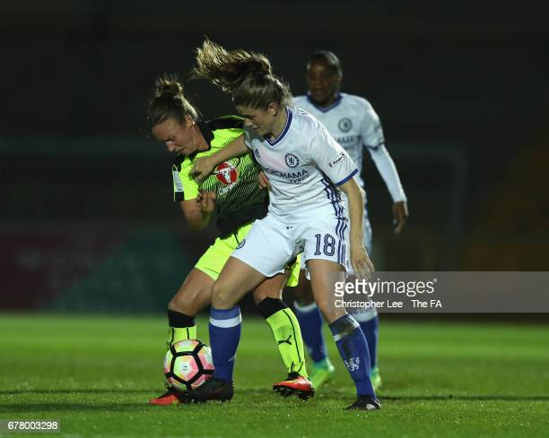 Remi Allen of Reading battles with Maren Mjelde of Chelsea during the FA WSL 1 match between Reading Ladies FC and Chelsea Ladies FC at Adams Park on...