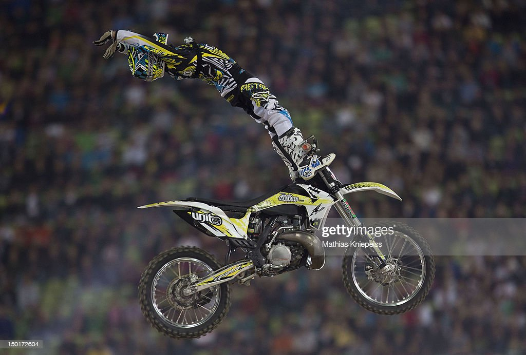 Remi Bizouard of France in action during the Red Bull X-Fighters World Tour at Olympia stadium on August 11, 2012 in Munich, Germany.