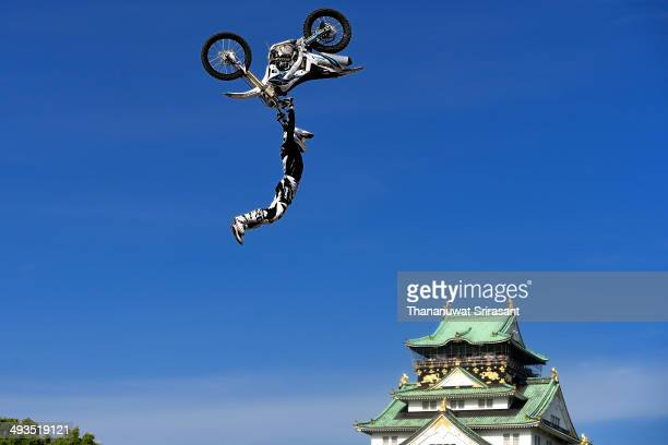 Remi Bizouard of France with Kawasaki KXF450 competes during qualifying for the Red Bull XFighters World Tour on May 24 2014 in Osaka Japan