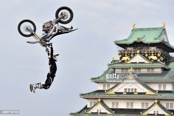 Remi Bizouard of France with Kawasaki KXF450 competes during the Red Bull XFighters World Tour on May 25 2014 in Osaka Japan