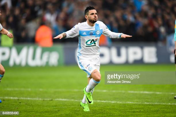 Remi Cabella of Marseille celebrates his goal during the French Cup match between Marseille and Monaco at Stade Velodrome on March 1 2017 in...