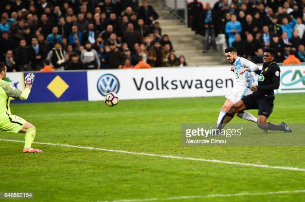 Remi Cabella of Marseille score the third goal during the French Cup match between Marseille and Monaco at Stade Velodrome on March 1 2017 in...