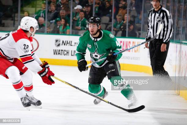 Remi Elie of the Dallas Stars skates against the Carolina Hurricanes at the American Airlines Center on October 21 2017 in Dallas Texas