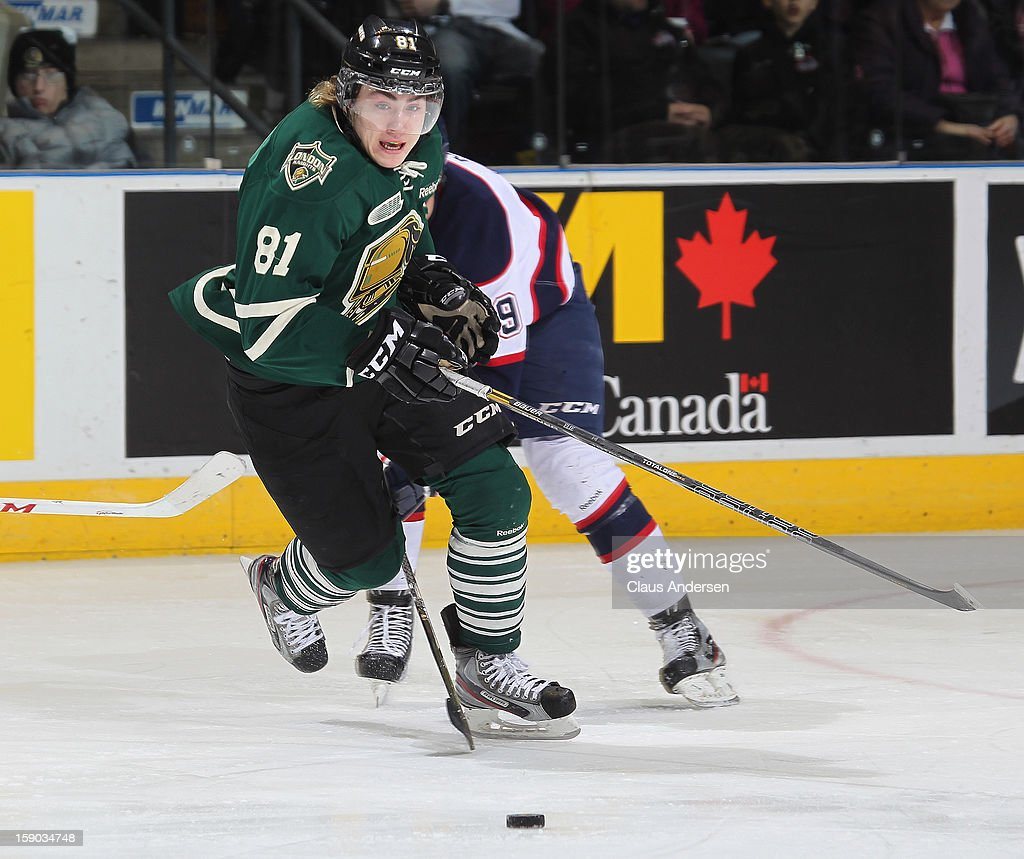 Remi Elie #81 of the London Knights skates with the puck in an OHL game against the Saginaw Spirit on January 4, 2013 at the Budweiser Gardens in London, Canada. The Knights defeated the Spirit 8-2.