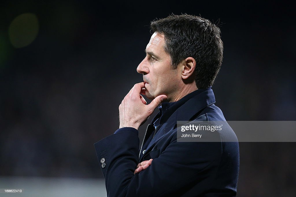 Remi Garde, coach of Lyon looks on during the Ligue 1 match between Olympique Lyonnais, OL, and Paris Saint-Germain FC, PSG, at the Stade Gerland on May 12, 2013 in Lyon, France.