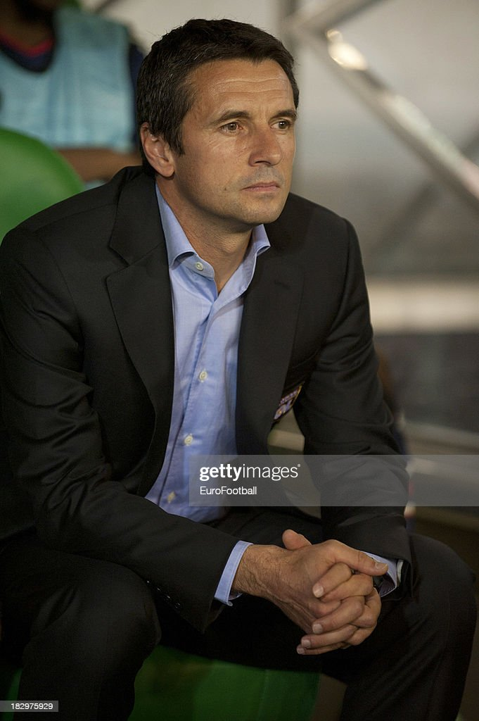 Remi Garde coach of Olympique Lyonnais during the UEFA Europa League group stage match between Real Betis Balompie and Olympique Lyonnais held on...
