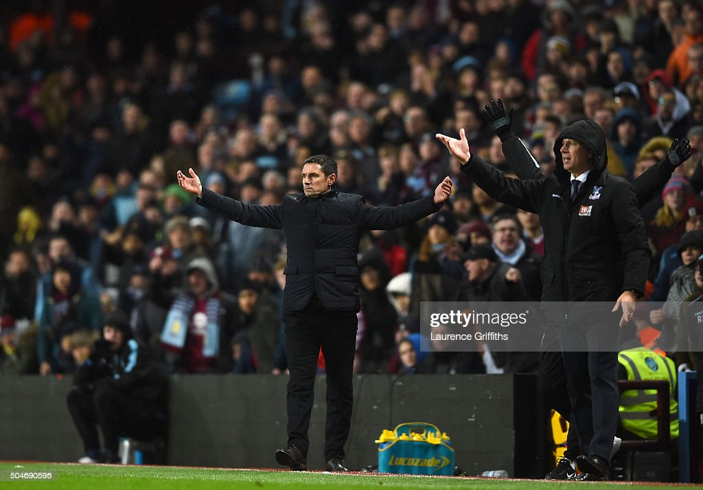 <a gi-track='captionPersonalityLinkClicked' href=/galleries/search?phrase=Remi+Garde&family=editorial&specificpeople=2334252 ng-click='$event.stopPropagation()'>Remi Garde</a> manager of Aston Villa (L) and <a gi-track='captionPersonalityLinkClicked' href=/galleries/search?phrase=Alan+Pardew&family=editorial&specificpeople=171147 ng-click='$event.stopPropagation()'>Alan Pardew</a> manager of Crystal Palace (R) react during the Barclays Premier League match between Aston Villa and Crystal Palace at Villa Park on January 12, 2016 in Birmingham, England.