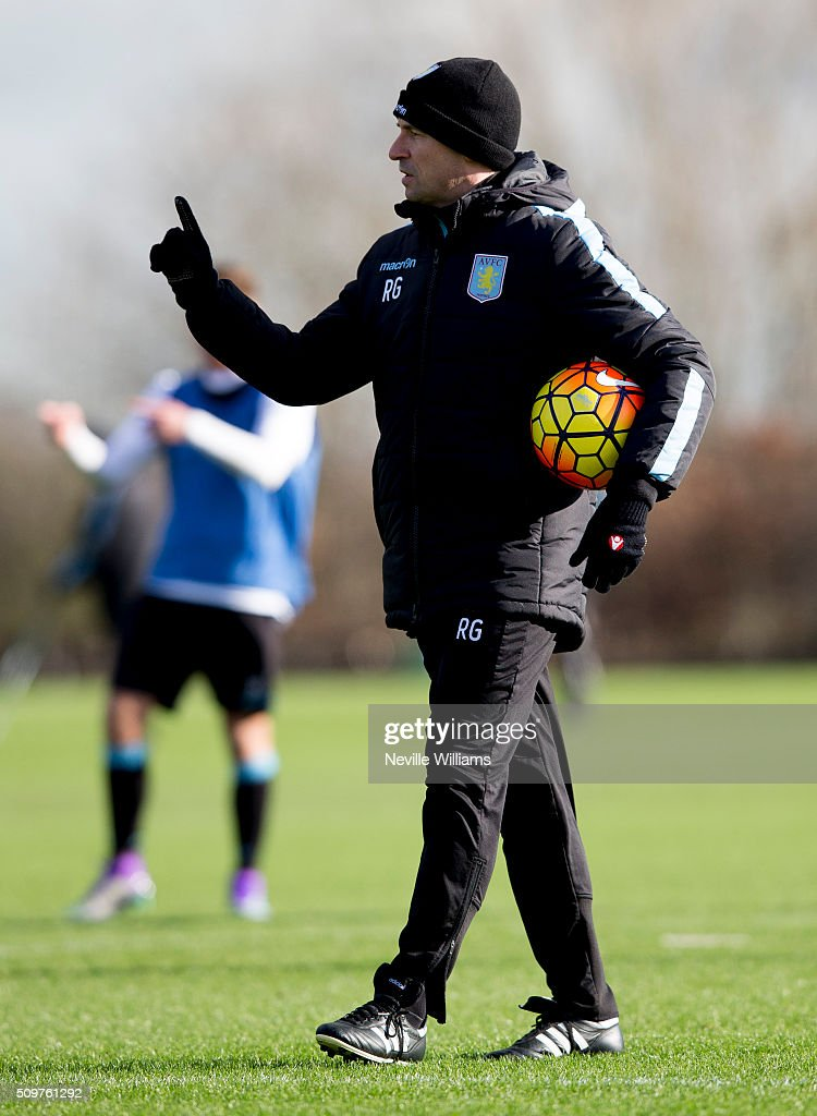 Remi Garde manager of Aston Villa during a Aston Villa training session at the club's training ground at Bodymoor Heath on February 12, 2016 in Birmingham, England.
