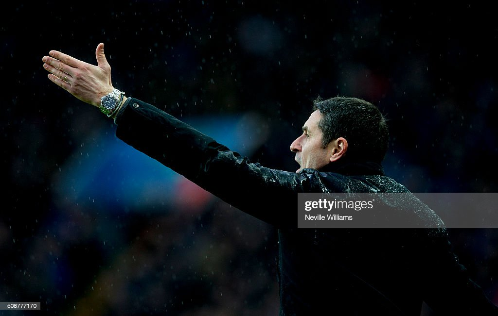 Remi Garde manager of Aston Villa during the Barclays Premier League match between Aston Villa and Norwich City at Villa Park on February 06, 2016 in Birmingham, England.