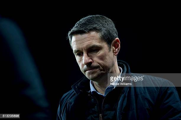 Remi Garde manager of Aston Villa during the Barclays Premier League match between Aston Villa and Everton at Villa Park on March 01 2016 in...
