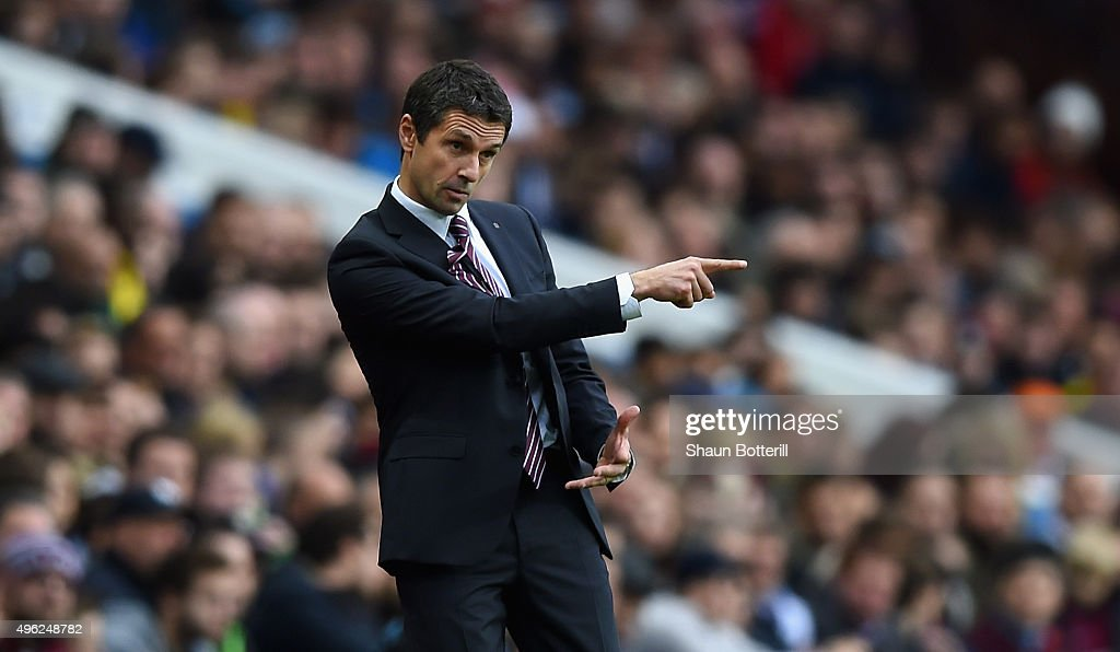 Remi Garde Manager of Aston Villa gestures during the Barclays Premier League match between Aston Villa and Manchester City at Villa Park on November...