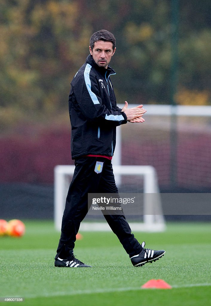 Remi Garde manager of Aston Villa in action during a Aston Villa training session at the club's training ground at Bodymoor Heath on November 06, 2015 in Birmingham, England.