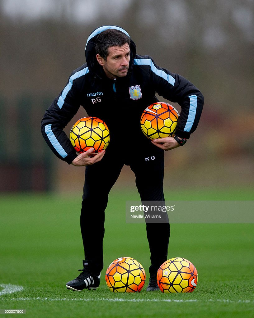 Remi Garde manager of Aston Villa in action during a Aston Villa training session at the club's training ground at Bodymoor Heath on December 31 2015...