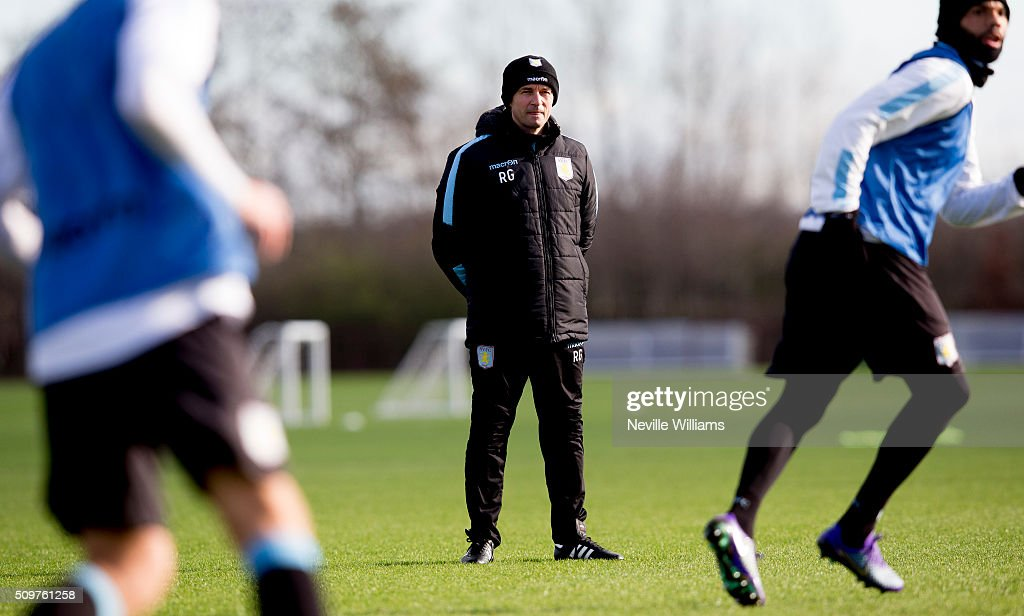 Remi Garde manager of Aston Villa in action during a Aston Villa training session at the club's training ground at Bodymoor Heath on February 12, 2016 in Birmingham, England.