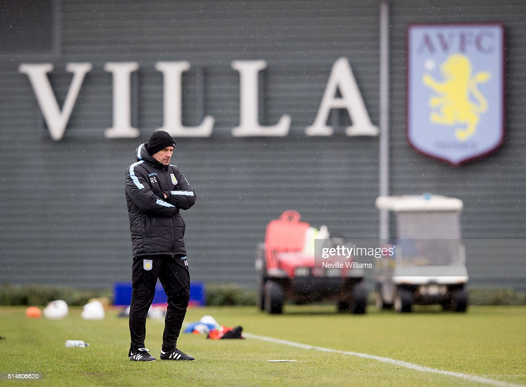 Remi Garde manager of Aston Villa in action during a Aston Villa training session at the club's training ground at Bodymoor Heath on March 11 2016 in...
