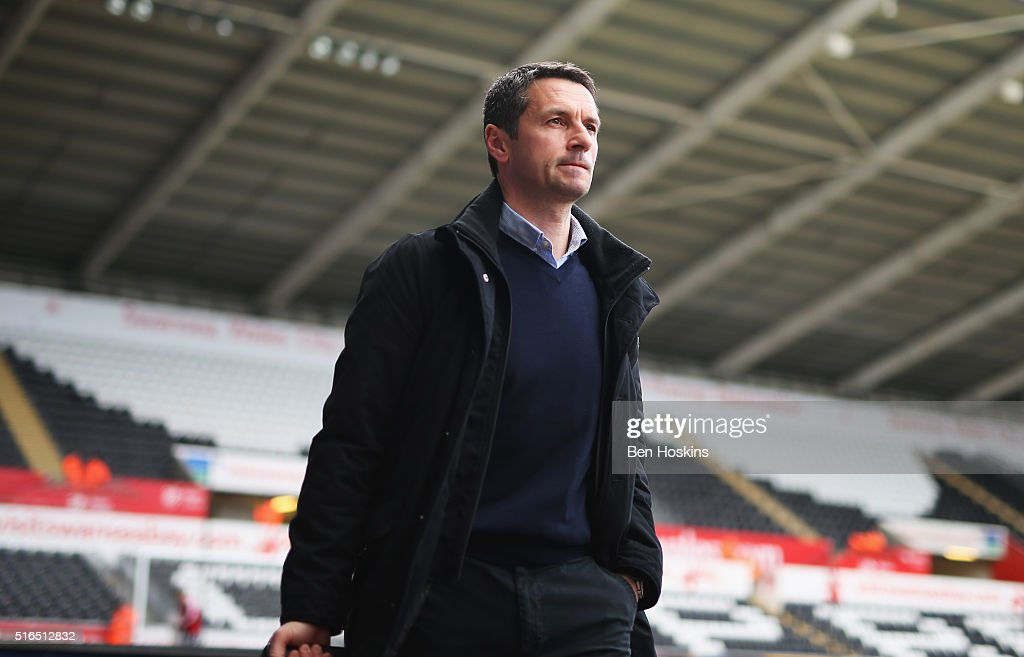 Remi Garde Manager of Aston Villa is seen on arrival at the stadium prior to the Barclays Premier League match between Swansea City and Aston Villa...