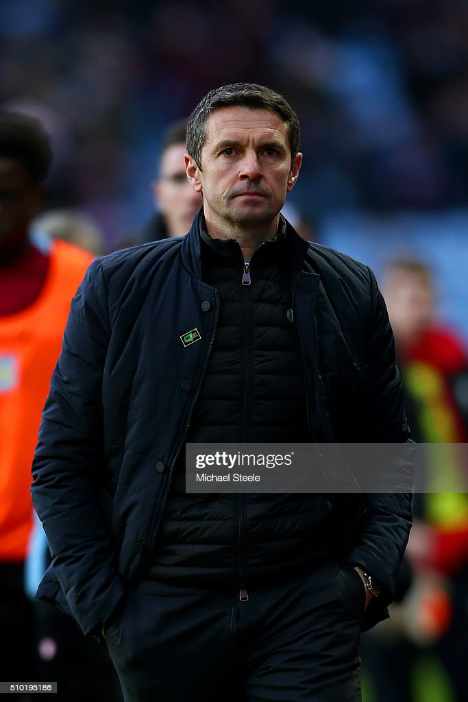 Remi Garde Manager of Aston Villa leaves the field after the Barclays Premier League match between Aston Villa and Liverpool at Villa Park on...