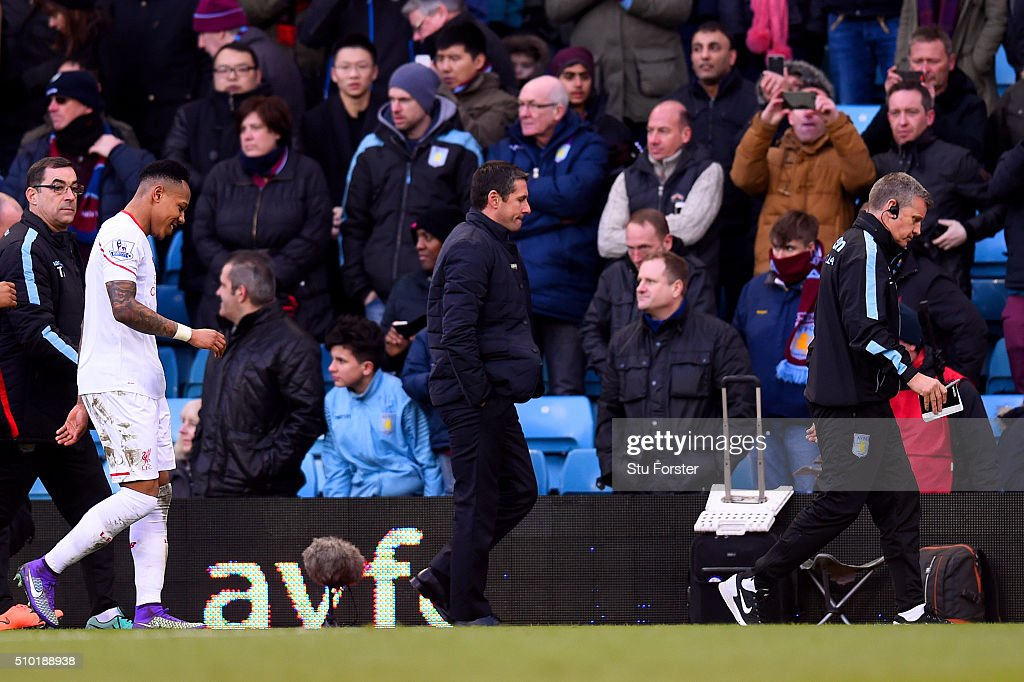 <a gi-track='captionPersonalityLinkClicked' href=/galleries/search?phrase=Remi+Garde&family=editorial&specificpeople=2334252 ng-click='$event.stopPropagation()'>Remi Garde</a>, Manager of Aston Villa leaves the field at half-time during the Barclays Premier League match between Aston Villa and Liverpool at Villa Park on February 14, 2016 in Birmingham, England.