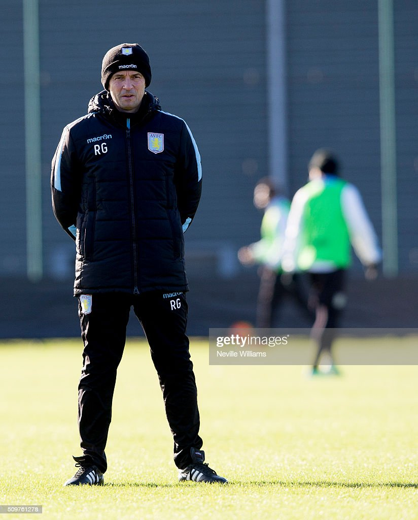Remi Garde manager of Aston Villa looks on during a Aston Villa training session at the club's training ground at Bodymoor Heath on February 12, 2016 in Birmingham, England.