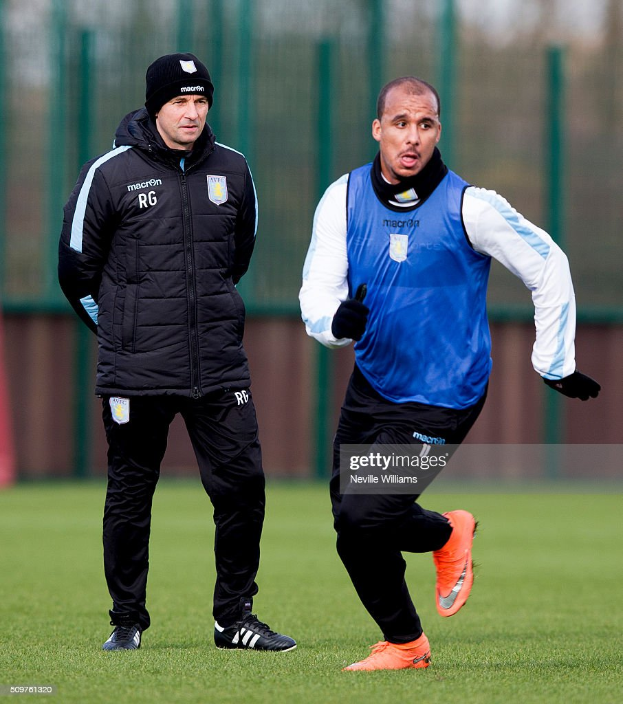 <a gi-track='captionPersonalityLinkClicked' href=/galleries/search?phrase=Remi+Garde&family=editorial&specificpeople=2334252 ng-click='$event.stopPropagation()'>Remi Garde</a> manager of Aston Villa looks on during a Aston Villa training session at the club's training ground at Bodymoor Heath on February 12, 2016 in Birmingham, England.