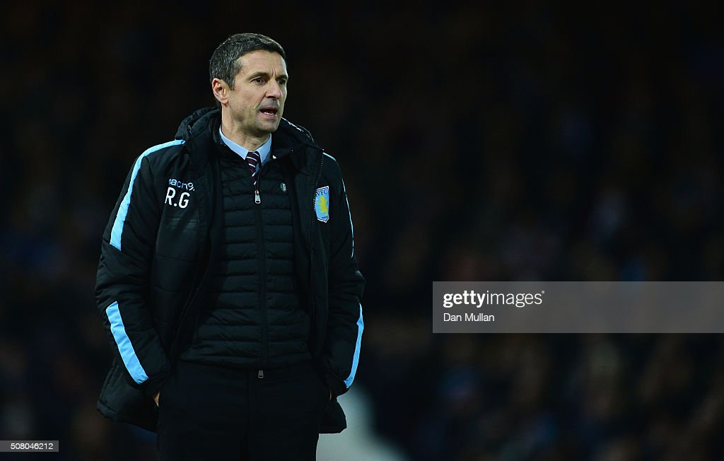 Remi Garde Manager of Aston Villa looks on during the Barclays Premier League match between West Ham United and Aston Villa at the Boleyn Ground on...