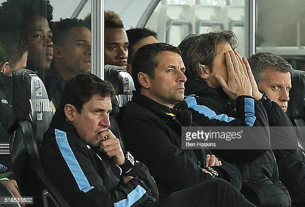 Remi Garde Manager of Aston Villa looks on during the Barclays Premier League match between Swansea City and Aston Villa at Liberty Stadium on March...