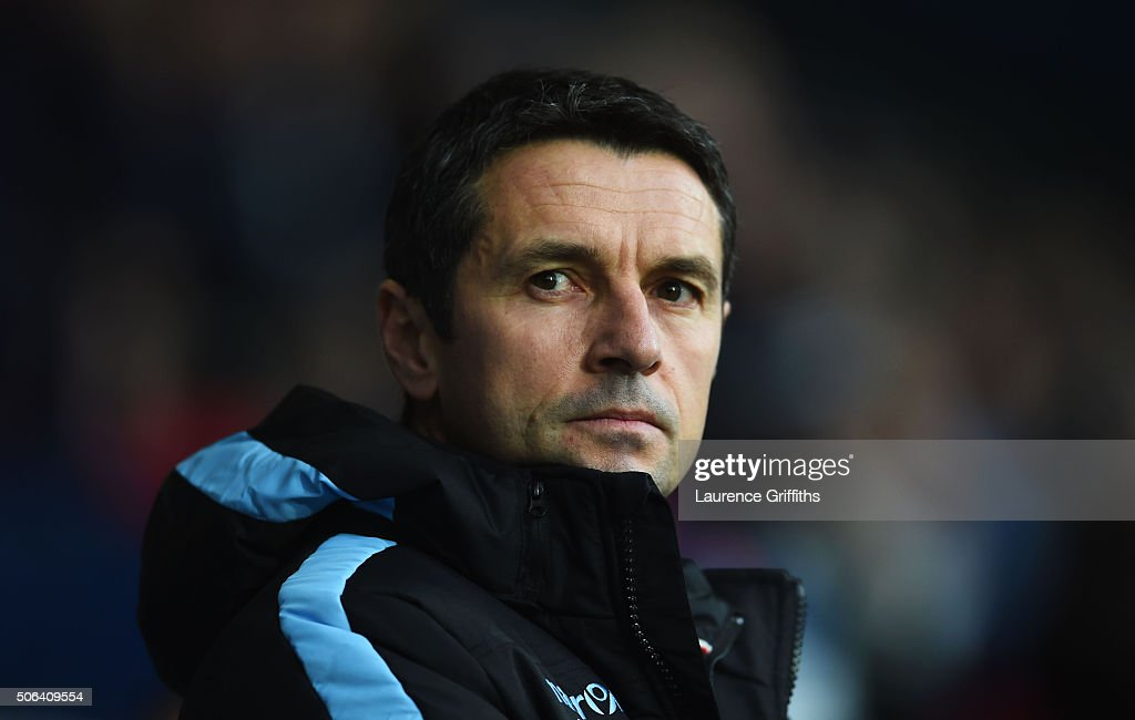 Remi Garde Manager of Aston Villa looks on prior to the Barclays Premier League match between West Bromwich Albion and Aston Villa at The Hawthorns...
