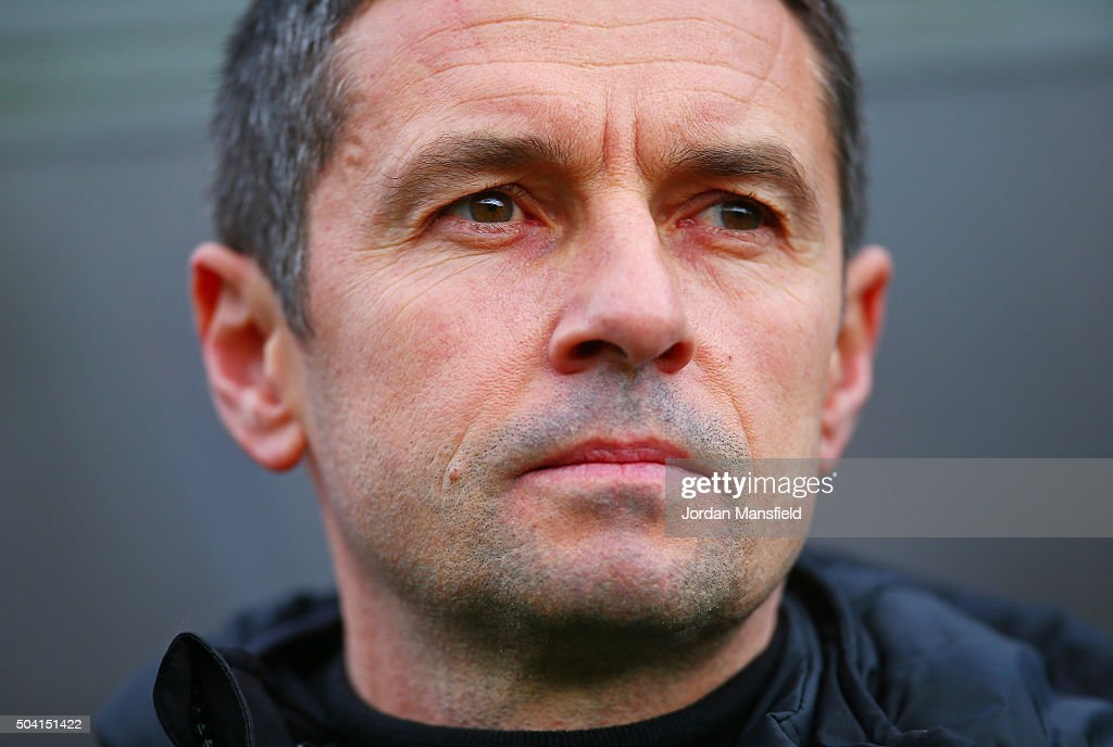 Remi Garde Manager of Aston Villa looks on prior to the Emirates FA Cup Third Round match between Wycombe Wanderers and Aston Villa at Adams Park on...