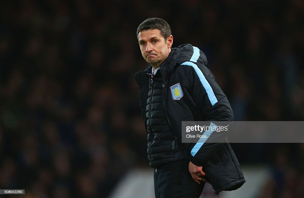 Remi Garde Manager of Aston Villa reacts during the Barclays Premier League match between West Ham United and Aston Villa at the Boleyn Ground on...