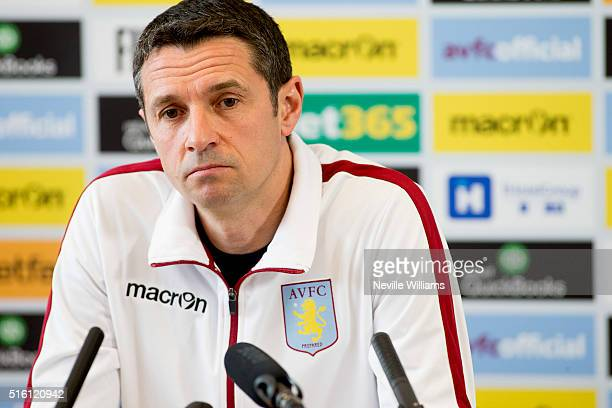 Remi Garde manager of Aston Villa talks to the press during a press conference at the club's training ground at Bodymoor Heath on March 17 2016 in...