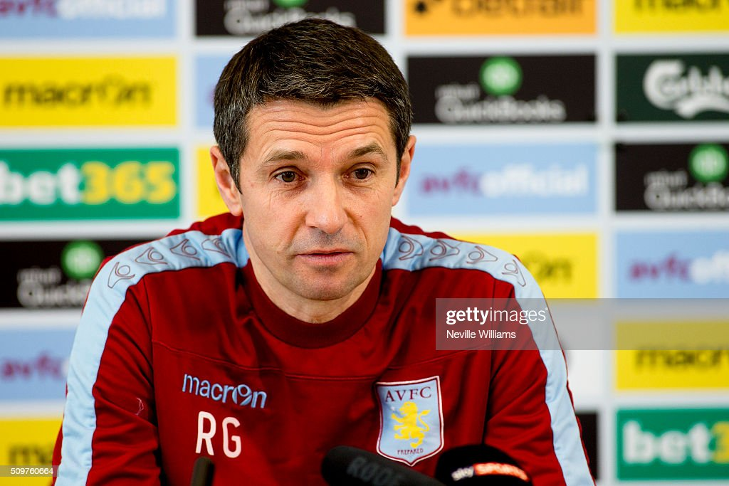 Remi Garde manager of Aston Villa talks to the press during as press conference at the club's training ground at Bodymoor Heath on February 12, 2016 in Birmingham, England.