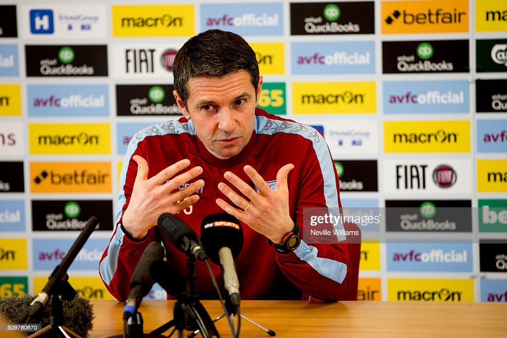 <a gi-track='captionPersonalityLinkClicked' href=/galleries/search?phrase=Remi+Garde&family=editorial&specificpeople=2334252 ng-click='$event.stopPropagation()'>Remi Garde</a> manager of Aston Villa talks to the press during as press conference at the club's training ground at Bodymoor Heath on February 12, 2016 in Birmingham, England.