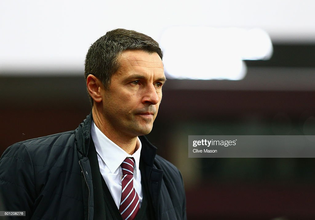 Remi Garde of Aston Villa looks on before the Barclays Premier League match between Aston Villa and Arsenal at Villa Park on December 13 2015 in...