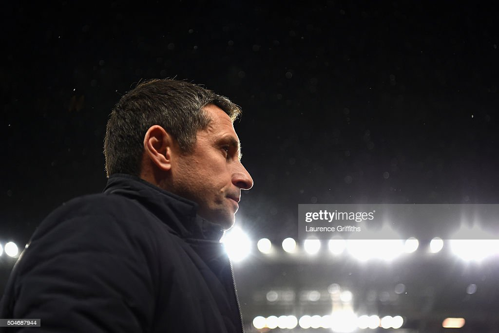 Remi Garde of Aston Villa looks on prior to the Barclays Premier League match between Aston Villa and Crystal Palace at Villa Park on January 12 2016...