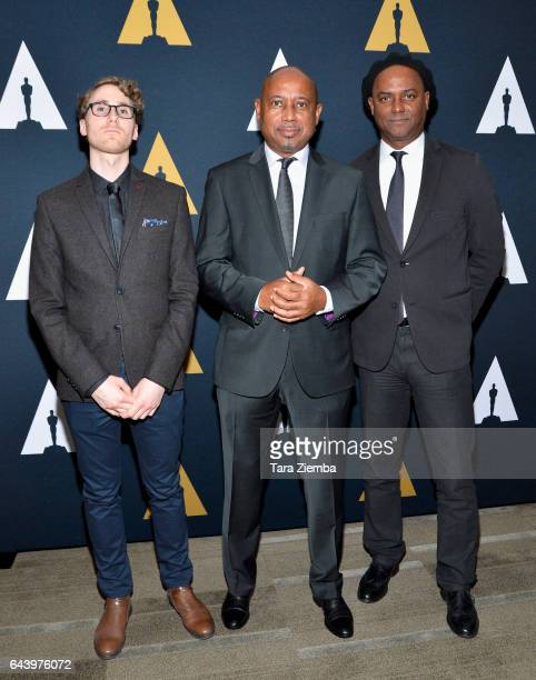 Remi Grellety Raoul Peck and Hebert Peck ttend the 89th Annual Academy Awards Oscar week reception for nominated films in the Documentary category at...