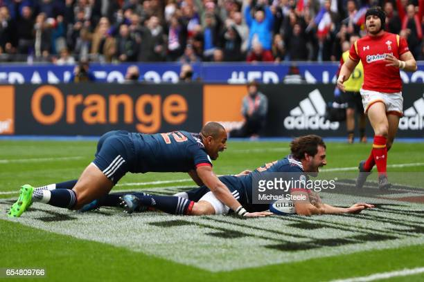 Remi Lamerat of France gathers a chip ahread to score the opening try during the RBS Six Nations match between France and Wales at the Stade de...