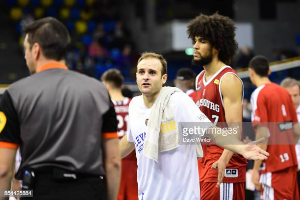 Remi Lesca of Levallois complains to the referee after his side narrowly lose the Pro A match between Levallois Metropolitans and Strasbourg on...