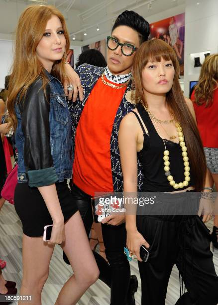 Remi Nelson Johnny Anastacio and Hana Mae Lee attend JustFabcom Los Angeles flagship store debut at Glendale Galleria on September 14 2013 in...