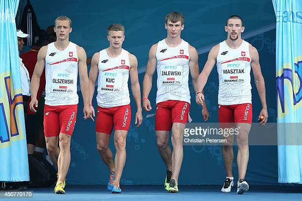 Remigiusz Olszewski Dariusz Kuc Karol Zalewski and Kamil Masztak of Poland are introduced to the Men's 4x100 metres relay during day two of the IAAF...