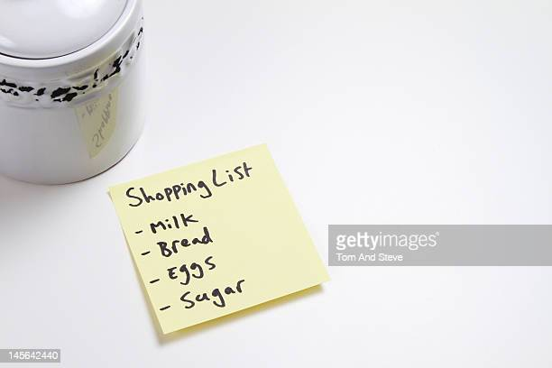 Reminder adhesive note of the weekly shopping list