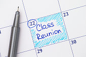 Reminder Class Reunion in calendar with blue pen.