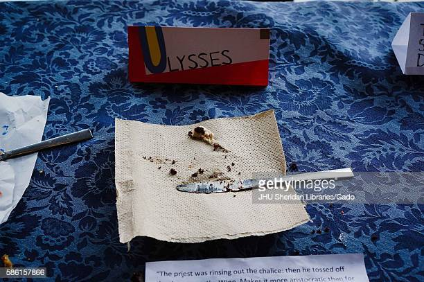 Remnants from a Ulysses cake at the 2014 Edible Book Festival a literary cake competition for students on the Homewood campus of the Johns Hopkins...