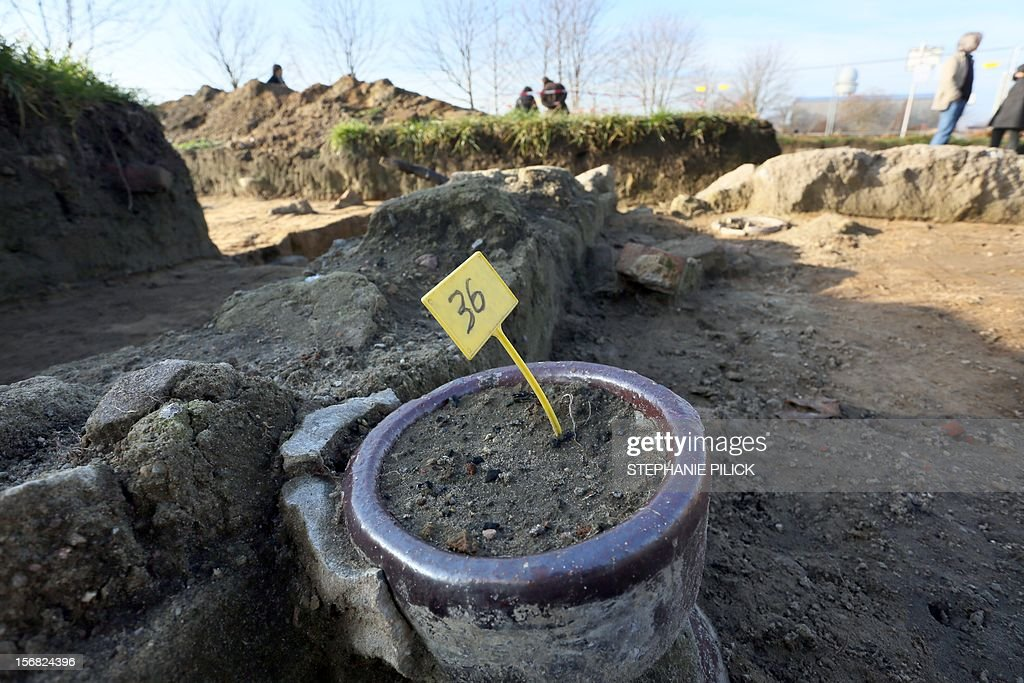 Remnants of a forced labour camp are presentedat the former Tempelhof airfield inBerlin on November 22, 2012. Archaeologists held a press conference to present the results of the diggings on the premises of the former airport and forced labor camp.