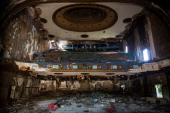 Remnants of Detroit's historic Eastown Theatre are seen on September 4 2013 in Detroit Michigan The theatre operated as a movie theater music venue...