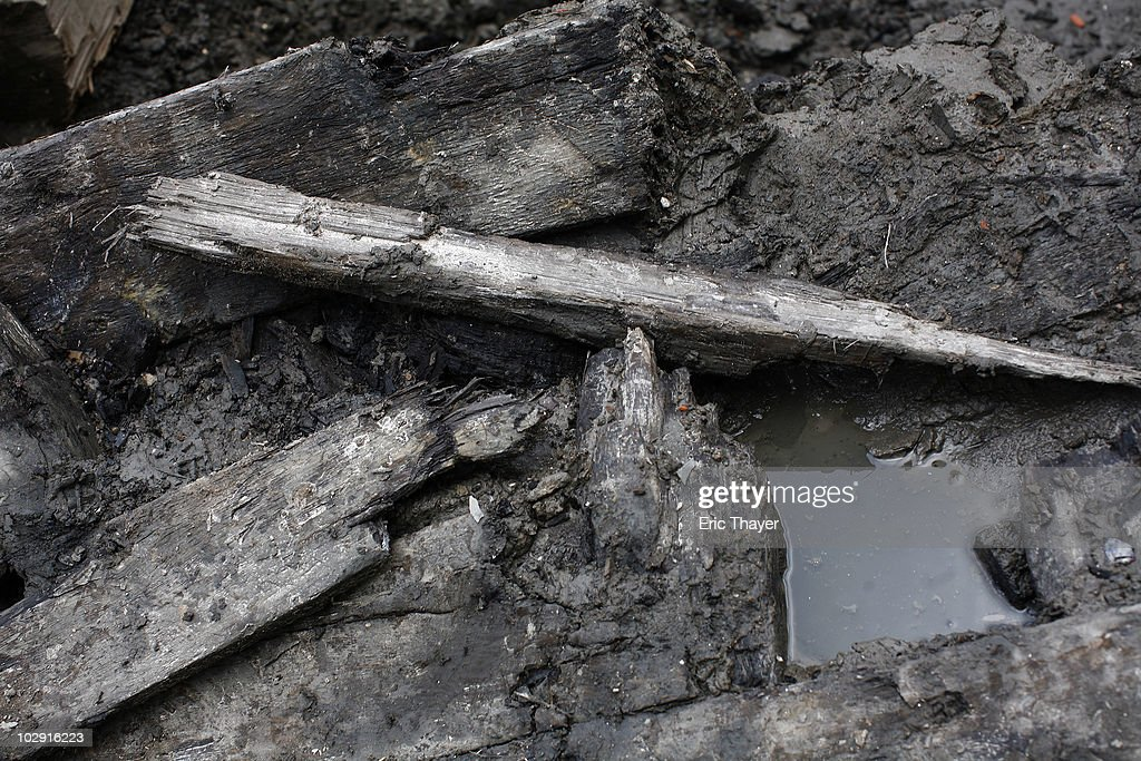 Remnants of what is thought to be an 18th century ship are seen at the site Ground Zero Construction Site in July 15, 2010 New York City. The wood hulled vessel is approximately 30 feet long and was found 20 to 30 feet below street level on Tuesday morning.