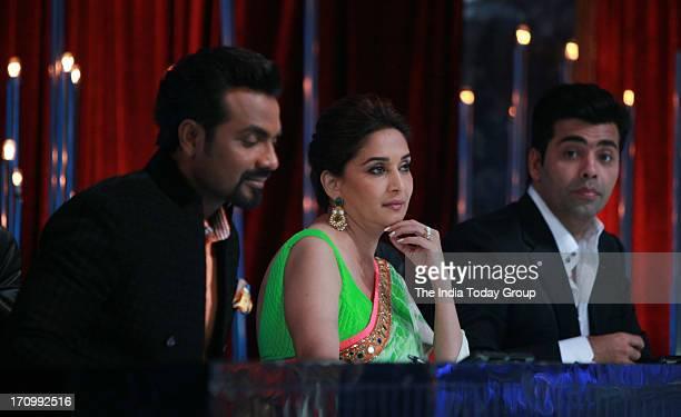 Remo DSouza Madhuri Dixit and Karan Johar on the sets of Jhalak Dikhla Jaa in Mumbai