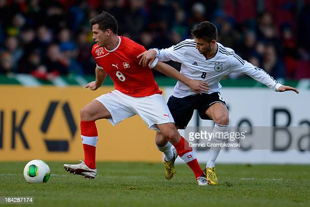 Remo Freuler of Switzerland and Moritz Leitner of Germany battle for the ball during the International Friendly match between U20 Germany and U20...