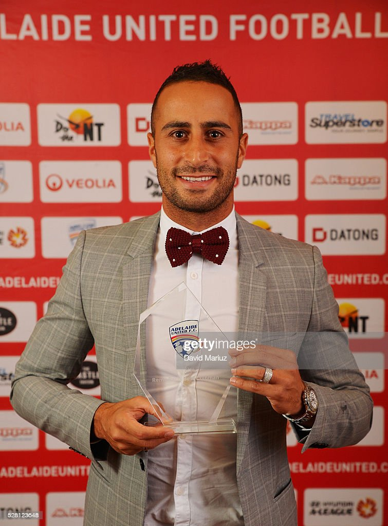 Remo Paris Best Clubman Award - Tarek Elrich during the 2016 Adelaide United Awards Night on May 4, 2016 in Adelaide, Australia.